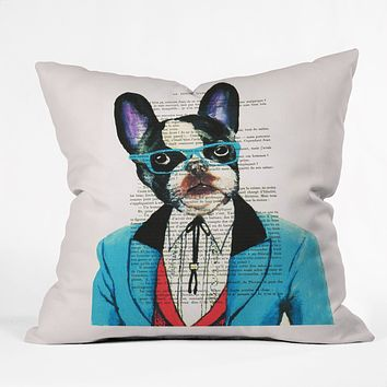 Coco de Paris Clever Bulldog Throw Pillow