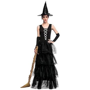 DCCKH6B VASHEJIANG Adult Gothic Witch Costume The Wizard of Oz the Flying Sorceress Role Playing Sexy Halloween Costumes for women