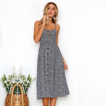 Women's Strappy Button Front Lace Up Ladies Summer Beach Midi Swing Sun Dress