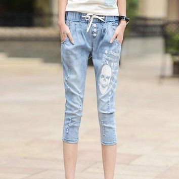 Calf Length Cotton Stretch Jeans Women Distressed Washed Drawstring Skull pattern