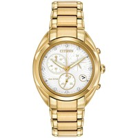 Citizen FB1392-58A Women's Celestial Eco-Drive White Dial Gold Tone Steel Bracelet Chronograph Diamond Watch
