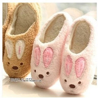 New Winter Cotton Plush Slippers For Men And Women Home Slippers Cute Soft-Sole Shoes, Lovers Bunny Slippers Pink Brown