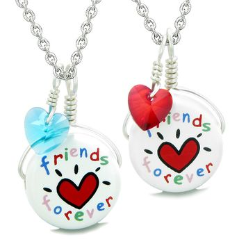 Love Couples Best Friends Forever Set Ceramic Lucky Charm Blue Red Hearts Amulet Pendant Necklaces