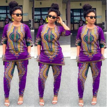 Two Piece Africana Dashiki Pants Set