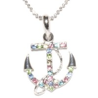 Anchor with Multi Rhinestones Necklace