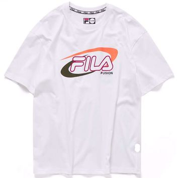 FILA 2019 new casual men and women with half sleeve t-shirt white