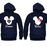 Bride and Groom Cartoon Theme Unisex Couple Matching Hoodies