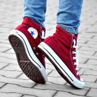 Converse All Star Sneakers canvas shoes for Unisex sports shoes High-top Wine red