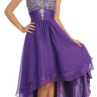 Studded Bodice Strapless High Low Purple Layered Prom Dress