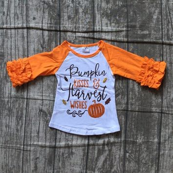 baby girls Halloween cotton raglans girls pumpkin kiss harvest wishes top raglans orange sleeve Halloween party raglans top tee