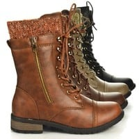 Aquapillar Women Fashion Tactical Military Combat Ankle Lace Up Bootie, New Shoe
