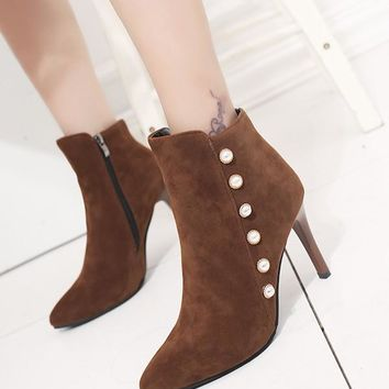 New Brown Point Toe Stiletto Pearl Fashion Ankle Boots