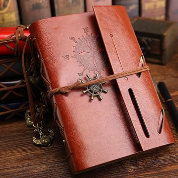 Pirate Ship Vintage Faux Leather Travelers Notebook Refillable Spiral Daily Memos Notepad Loose Leaf Composition Bussiness Book