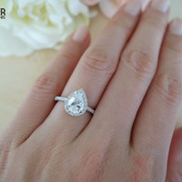 1.5 Carat Pear Cut Halo Engagement Ring,  Vintage Style, D Color Flawless Man Made Diamonds, Wedding, Sterling Silver, Bridal, Promise Ring