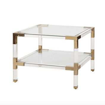 Worlds Away Connor Two Tier Acrylic Side Table