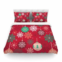 """julia grifol """"Christmas Balls"""" Red Green Pattern Holiday Vector Featherweight Duvet Cover"""