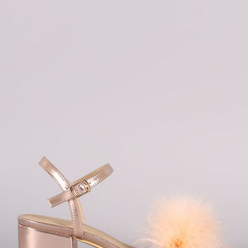 Fur Open Toe Ankle Strap Block Heeled Sandal