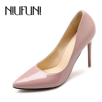 2017 New Sexy Women's High Heels Fashion Patent Leather Shoes Woman Pointed Toe OL Slip On Ladies Pumps Heels 8.5cm/10.5cm/7.5cm