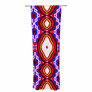 "Dawid Roc ""Inspired By Psychedelic Art 2""  Red Abstract Decorative Sheer Curtain"