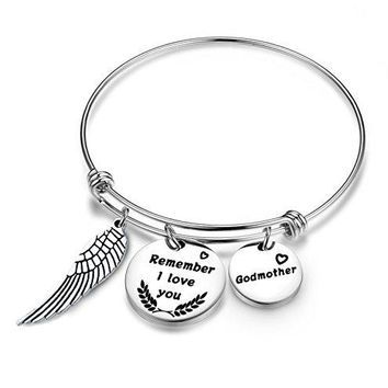 SEIRAA Godmother Bangle Bracelet Godmother Gifts Stainless Steel Expanded Bracelet Christening gifts