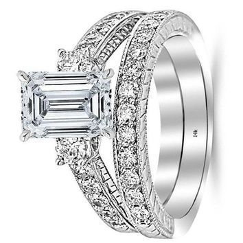 .2.03 Ctw 14K White Gold GIA Certified Emerald Cut Three Stone Vintage with Milgrain & Filigree Bridal Set with Wedding Band & Diamond Engagement Ring, 1 Ct I-J VS1-VS2 Center