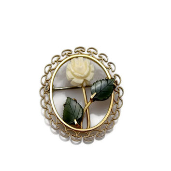 Krementz Jade Pin, Carved Celluloid, Rose Brooch, Gold Filled, Jade Brooch, Vintage Jewelry, Carved Rose, 1950s 50s Jewelry, Brooch, Pin