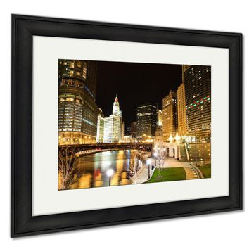 Framed Prints, Chicago River At Night Wall Art Decor Giclee Photo Print In Black Wood Frame, Soft White Matte, Ready to hang, 16x20 Art