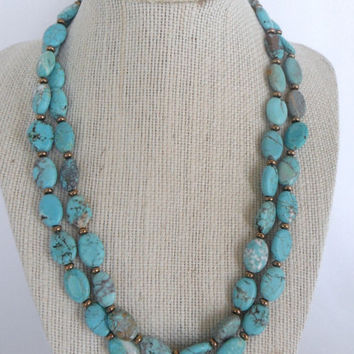 Turquoise Ovals with Brass Discs Double Strand Necklace Brass Toggle Fashion under 40