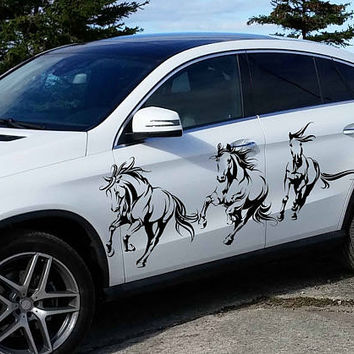 horse car hood decal horse Car Decals horse Car Truck horse Side Body Graphics Decal horse Sticker for car kikcar42