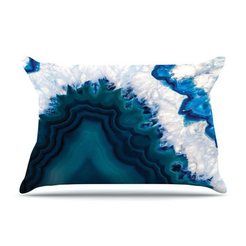 "KESS Original ""Blue Geode"" Nature Photography Pillow Case"