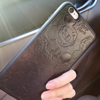 PU Leather Cartoon Mickey Cases For iPhone 7 6 6S