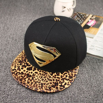 2015 street snakeskin leaopard brim superman metal logo S snapback baseball cap hip-hop cap skateboard hat 7colors (Color: Yellow) = 1946008644