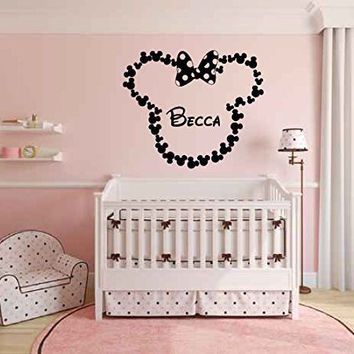 Minnie Mouse Inspired Bow Heads Personalized Custom Name Vinyl Wall Words Decal Sticker Graphic