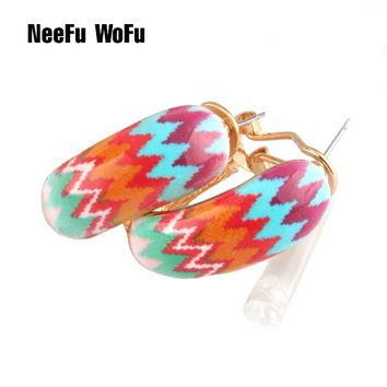 NeeFu WoFu Drop Big Earring Flash  Printed Metal for Woman Ear Ring Large Long Brinco Printing Accessories Oorbellen Earrings