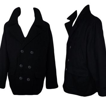 Men's Coat, Winter Coat, Wool Coat, Pea Coat, Black Coat, Outdoor, Sailor, Eddie Bauer, XL