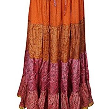 Mogul Womens Tiered Skirt Vintage Sari Full Flare Belly Dance Maxi Skirts
