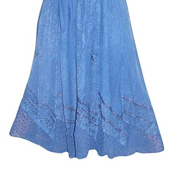 Womens Skirt Hippie Stonewashed Blue Embroidered Long Skirts M/L