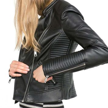 ]2016 New Fashion Women Faux Soft Leather Jackets HOT Autumn Winter Pu Black Blazer Zippers Coat Motorcycle Outerwear SS285