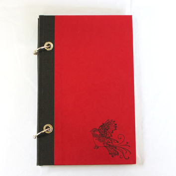 Red Journal with Filigree Bird /  Red Sketchbook with Filigree Bird / Refillable Journal