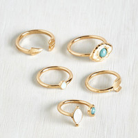 Boho Variety and Crumpets Ring Set by ModCloth