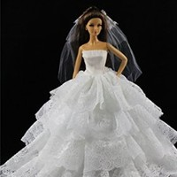 White Princess Dress Wedding Clothes Gown+veil Made Fit for Barbie Doll