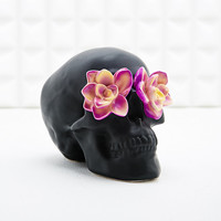 Skull and Flowers Money Bank in Black - Urban Outfitters