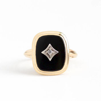 Vintage 10k Rosy Yellow Gold Black Onyx & Diamond Ring - 1940s BDA Size 8 1/2 Rectangular Dark Gemstone Statement Fine Jewelry