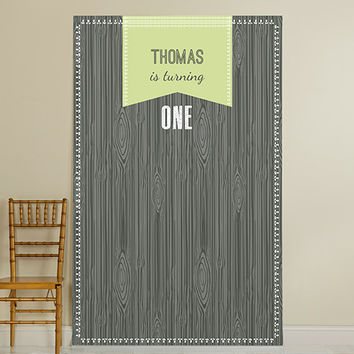 Personalized Photo Booth Backdrop - Kate's Rustic Birthday Collection - Black