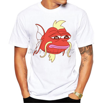 Men's 2017 Fashion Cartoon Magikarp Design T Shirt Boy Cool Tops Hipster Fish Printed Summer T-shirt