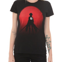 Attack On Titan Red Silhouette Girls T-Shirt