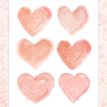 Coral Heart, 8x10 Watercolor Print, Heart Art, Coral Nursery Decor, Peach Nursery Art,  Peach Nursery Decor, Blush Nursery Art, Peach Baby