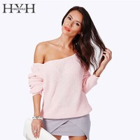 HYH HAOYIHUI 2016 Brand New Fashion Women Sweater Full Sleeve Solid Sweater Off Shoulder Design Pullover Sweaters