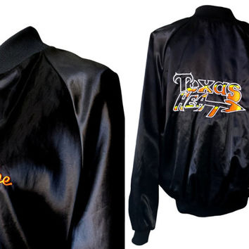 "Retro Oversized Sports Jacket, Black Satin Sheen Nylon Baseball Jacket Embroidered ""Texas Heat"", Auburn Sportswear, 90s Hipster Streetwear"