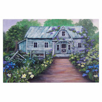 "Cyndi Steen ""Ivy Cottage Again"" Gray Purple Decorative Door Mat"